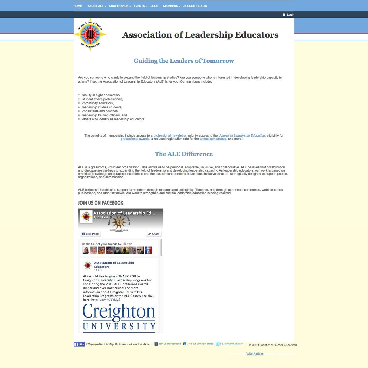 Association of Leadership Educators Website - Before